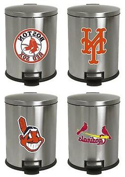3.1 GALLON STAINLESS STEEL STEP CAN WASTEBASKET TRASH W/ MLB