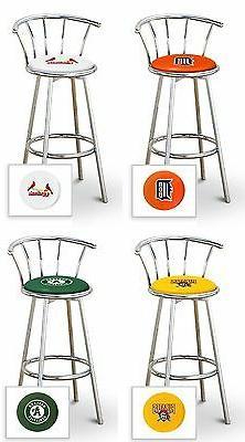 """Bar Stool MLB 24"""" Tall Chrome Swivel Seat Backrest Colored V"""