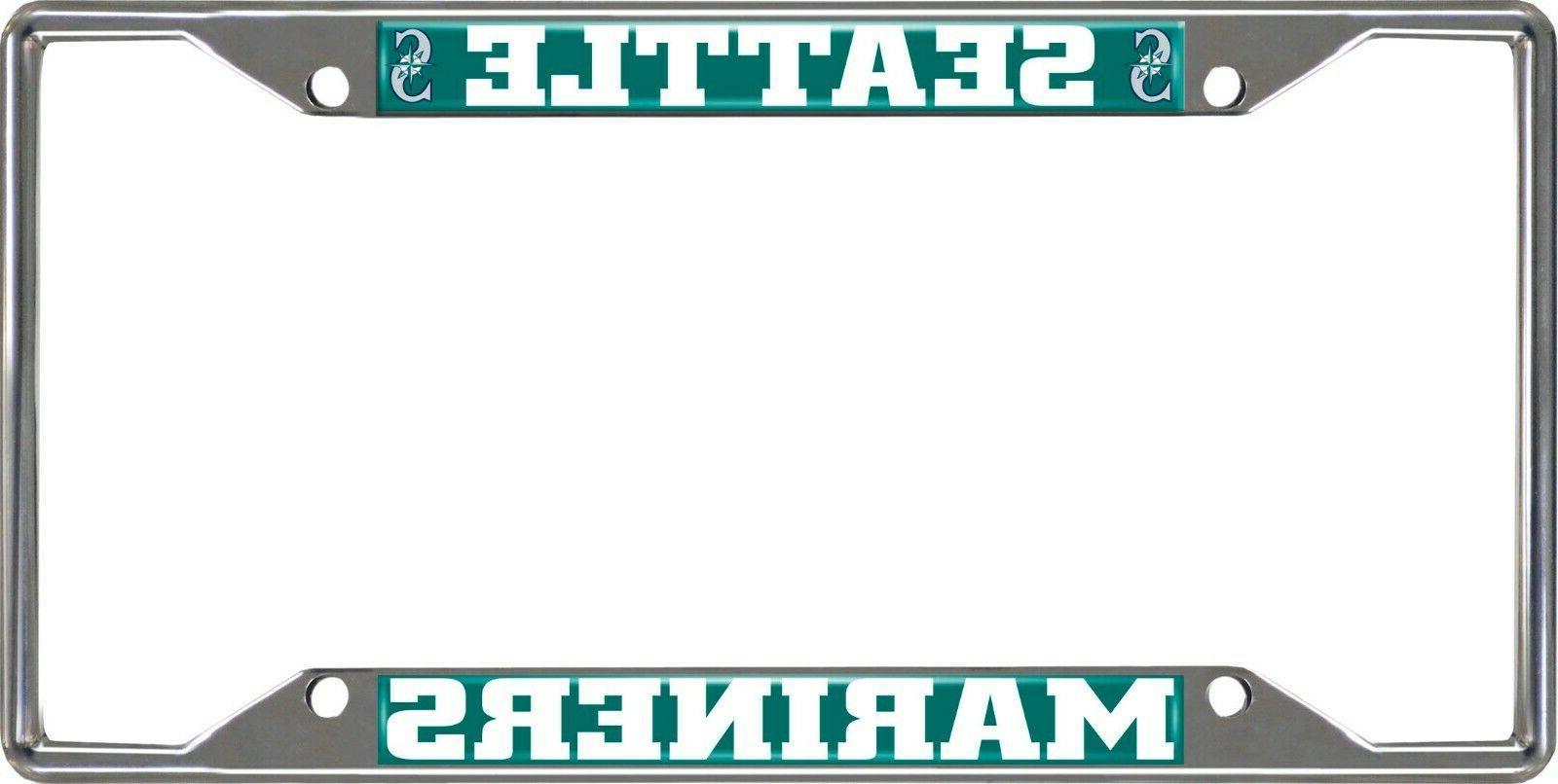 mlb seattle mariners chrome metal license plate
