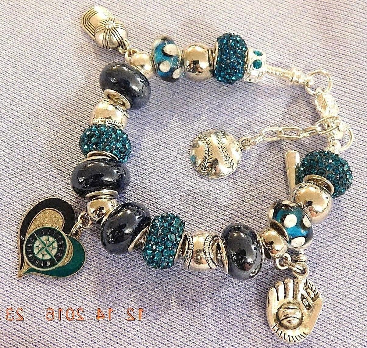 mlb seattle mariners crystal team charm bracelet