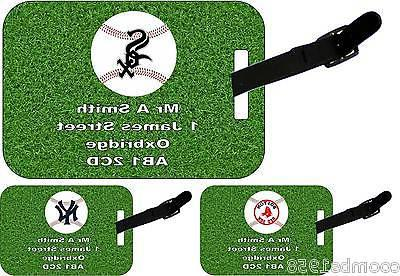 personalised luggage tag with strap american baseball