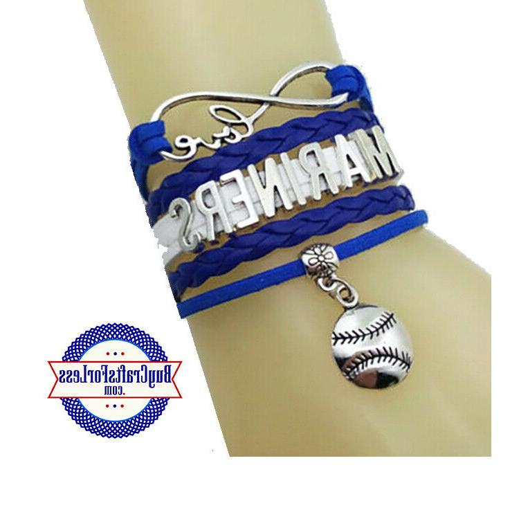 seattle mariners leather woven bracelets free shipping
