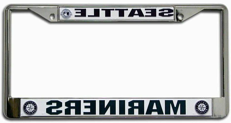 seattle mariners metal license plate frame chrome