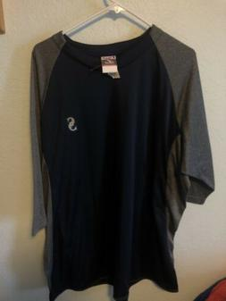 Men's Seattle Mariners Navy/Grey Majestic 3/4 Sleeves Shir