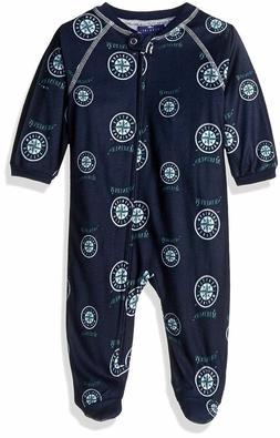 MLB Newborn Mariners Sleepwear Zip Up Coveralls, Size 3-6 Mo