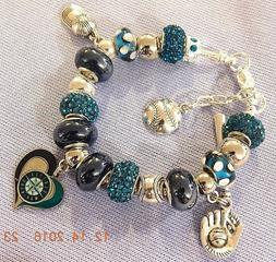 MLB SEATTLE MARINERS Crystal Team Charm Bracelet  Felix Hern