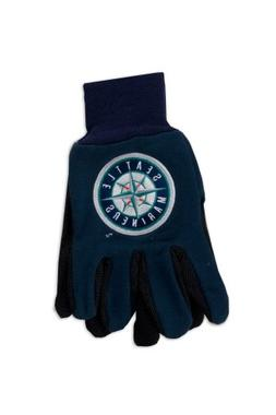 MLB Seattle Mariners Two-Tone Gloves, Blue/Black