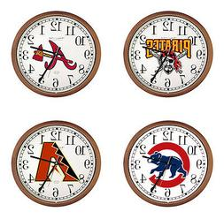 """MLB Team Logo 15"""" Round Wall Clock with Glass Face and Cappu"""