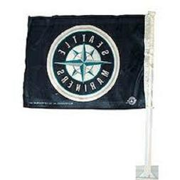 NEW MLB SEATTLE MARINERS 11X14 WINDOW MOUNT 2-SIDED CAR FLAG
