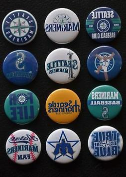 Seattle Mariners - 1 1/2 Inch Buttons - Set of 12