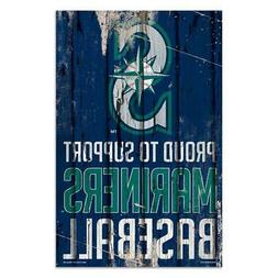 """Seattle Mariners 11""""x17"""" Proud to Support Wood Sign  MLB Wal"""