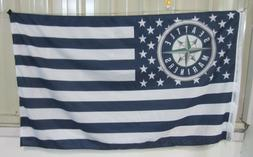Seattle Mariners 3x5 Ft American Flag Baseball New In Packag