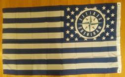 Seattle Mariners American Flag 3x5 Flag - NEW