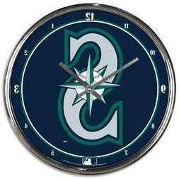 Seattle Mariners Chrome Round Wall Clock MLB Sign Banner Off