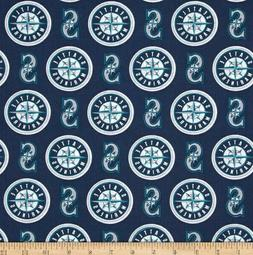 "seattle mariners fabric 10""x58"" cotton GOOD FOR MASKS next d"