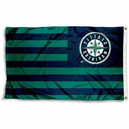 SEATTLE MARINERS FLAG 3'X5' MLB STRIPED BANNER: FAST FREE SH