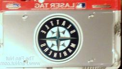 Seattle Mariners Laser Cut Mirrored License Plate Tag Silver