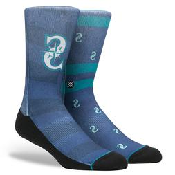 Seattle Mariners Men's Stance Splatter Crew Socks AB4 Blue M