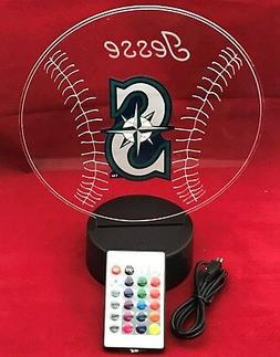 Seattle Mariners MLB Baseball Light Up Lamp LED With Remote,
