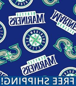 "Seattle Mariners MLB Fleece Fabric - 58-60"" Wide - Style# 65"
