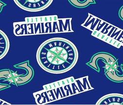 "Seattle Mariners MLB Fleece Fabric - 60"" Wide - Style# 6519"