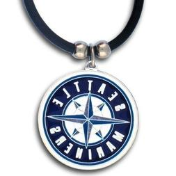Seattle Mariners Necklace Black Rubber Cord Large Metal Pend