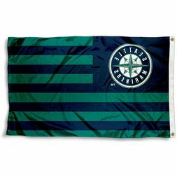SEATTLE MARINERS STRIPED FLAG 3'X5': FAST FREE SHIPPING
