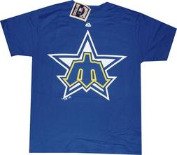 Seattle Mariners Majestic Throwback Logo T Shirt NEW tags Me