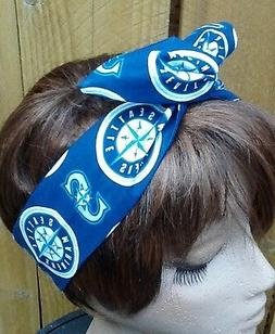 Seattle Mariners  Wired Dolly Bow Rockabilly Scarf Wire head