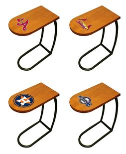 TV Tray End Table Oak Finish with MLB Team Logo Decal Slide-