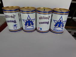 Vintage Seattle Mariners Coin Bank 1984 Lot of 4 Cans Old Sc
